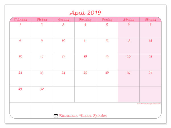 Kalendrar april 2019 (MS).  63MS.