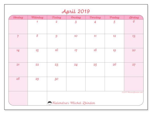 Kalender april 2019, 63SL. Almanak för att skriva ut gratis.
