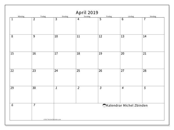Kalender april 2019, 70MS. Månadskalender för att skriva ut gratis.