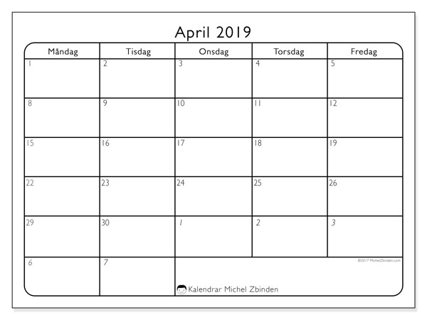 Kalender april 2019, 74MF. Gratis utskrivbara kalender.