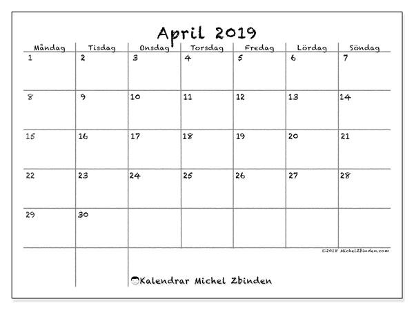 Kalender april 2019, 77MS. Kalender för att skriva ut gratis.