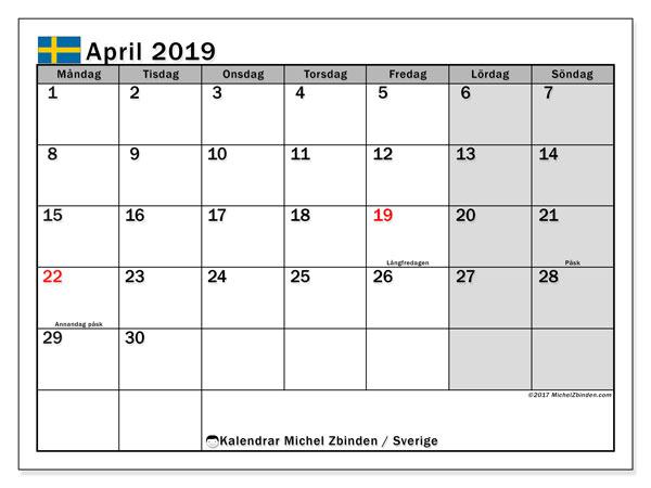 Kalender april 2019, med helgdagar i sverige. Almanak för att skriva ut gratis.