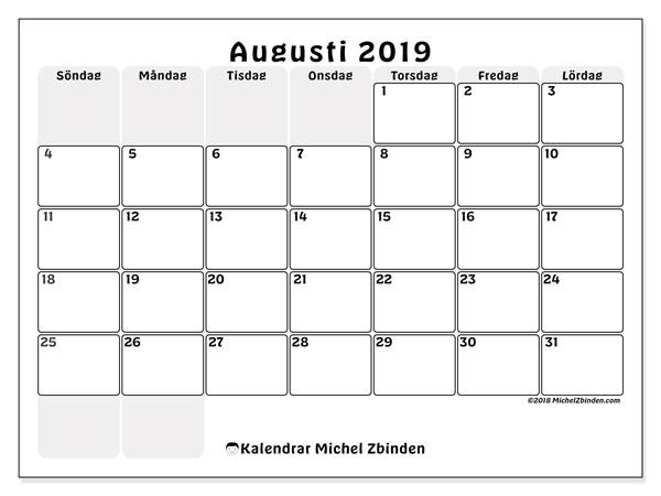 Kalender augusti 2019, 44SL. Gratis utskrivbara kalender.