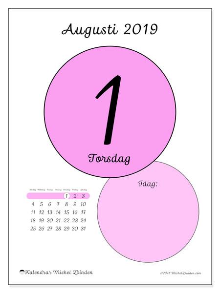 Kalender augusti 2019, 45-1SL. Kalender för dagen att skriva ut gratis.