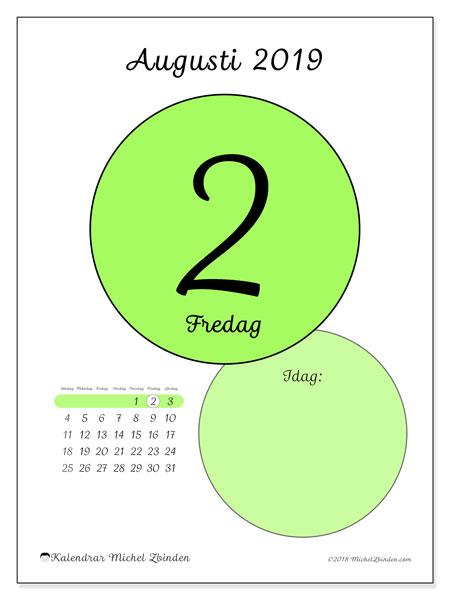 Kalender augusti 2019, 45-2SL. Kalender för dagen att skriva ut gratis.