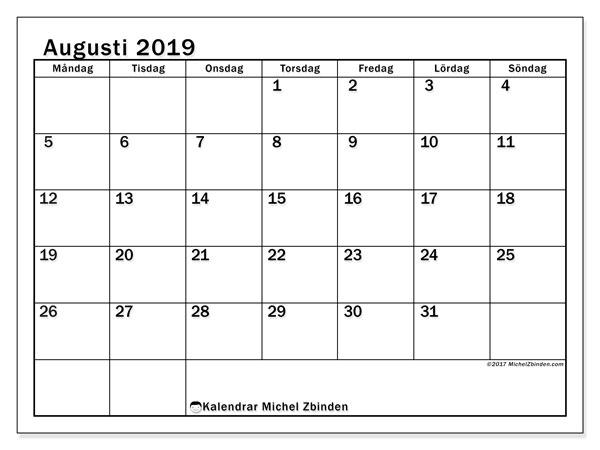 Kalender augusti 2019, 50MS. Gratis kalender att skriva ut.