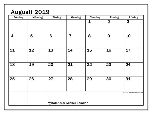 Kalender augusti 2019, 50SL. Gratis utskrivbara kalender.