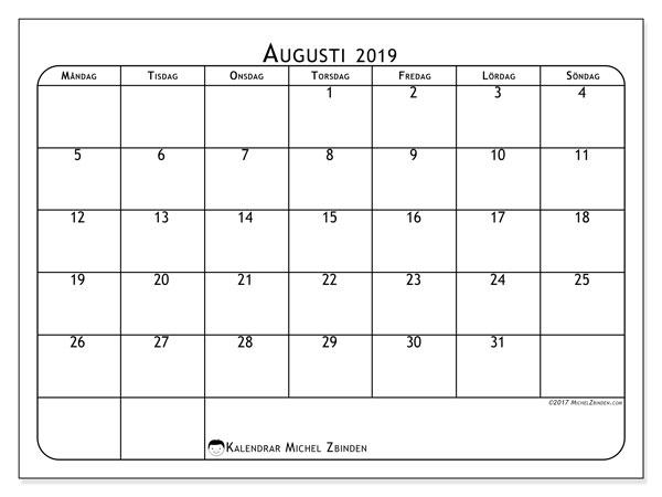 Kalender augusti 2019, 51MS. Gratis kalender att skriva ut.
