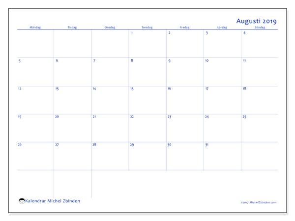 Kalender augusti 2019, 55MS. Almanak för att skriva ut gratis.