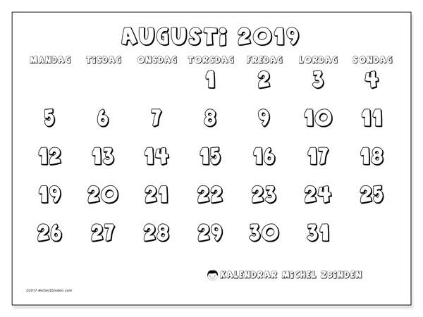 Kalender augusti 2019, 56MS. Kalender för gratis utskrift.