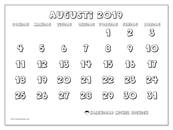 Kalender augusti 2019, 56SL. Kalender för att skriva ut gratis.