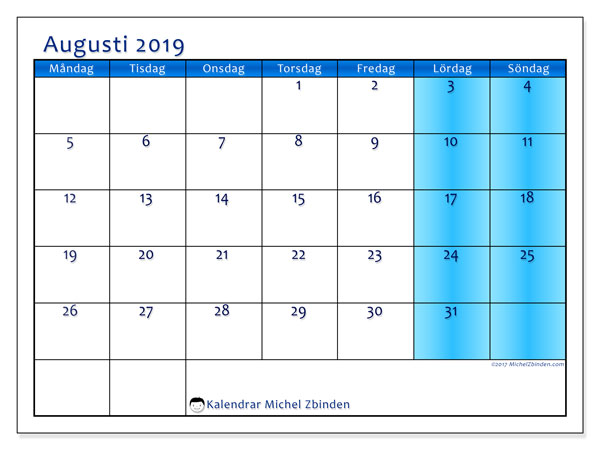 Kalender augusti 2019, 58MS. Almanak för att skriva ut gratis.