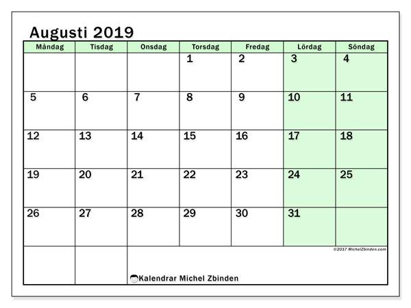 Kalender augusti 2019, 60MS. Schema för att skriva ut gratis.