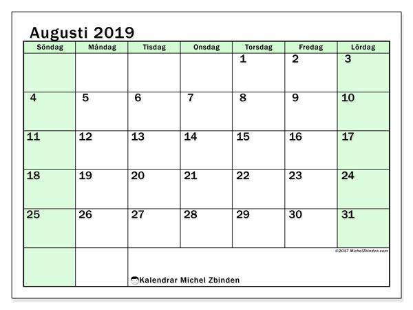 Kalender augusti 2019, 60SL. Gratis kalender att skriva ut.