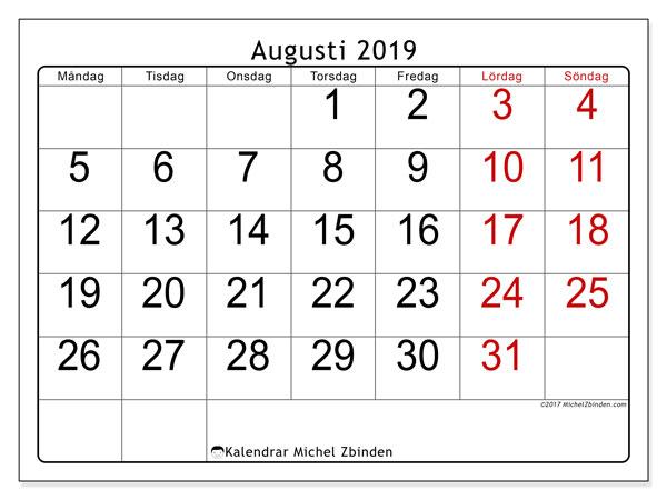 Kalender augusti 2019, 62MS. Almanak för att skriva ut gratis.