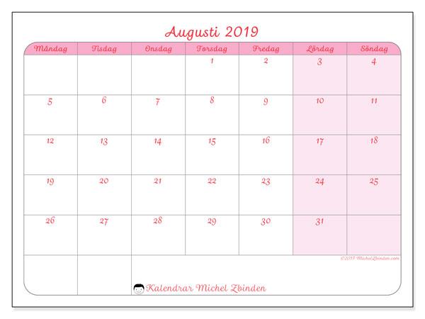 Kalender augusti 2019, 63MS. Månadskalender för att skriva ut gratis.