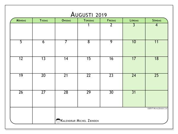 Kalender augusti 2019, 65MS. Månadskalender för att skriva ut gratis.
