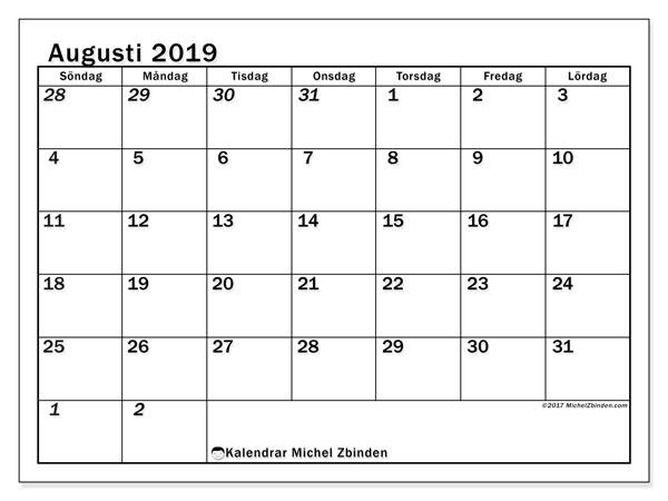 Kalender augusti 2019, 66SL. Gratis kalender att skriva ut.