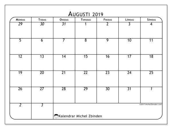 Kalender augusti 2019, 67MS. Gratis utskrivbara kalender.