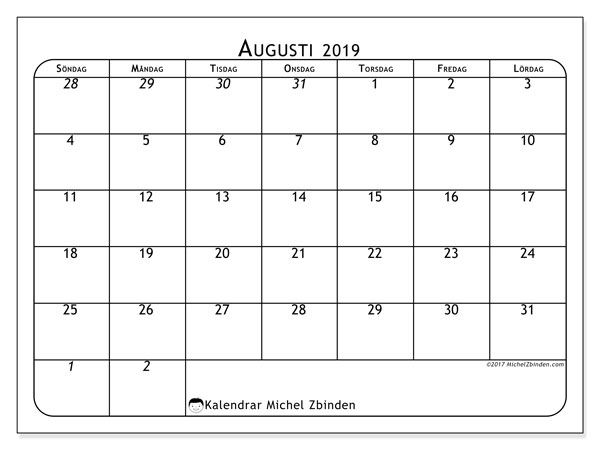 Kalender augusti 2019, 67SL. Kalender för året att skriva ut gratis.