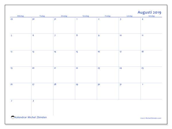 Kalender augusti 2019, 73MS. Gratis kalender att skriva ut.