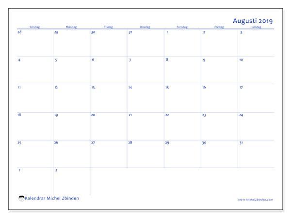 Kalender augusti 2019, 73SL. Kalender för att skriva ut gratis.