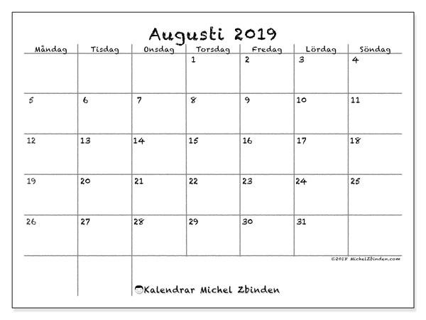 Kalender augusti 2019, 77MS. Kalender för gratis utskrift.