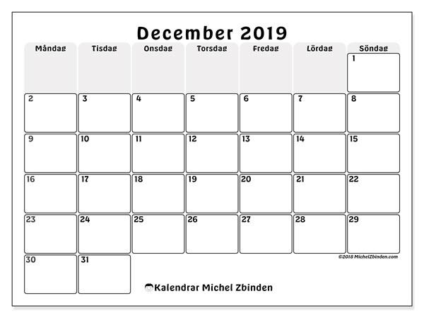 Kalender december 2019, 44MS. Kalender för året att skriva ut gratis.