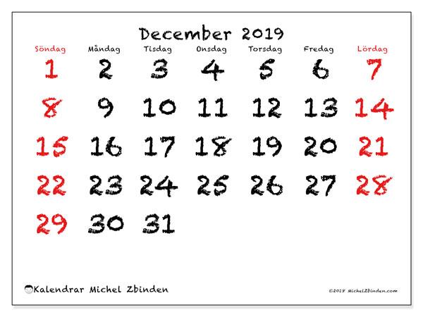 Kalender december 2019, 46SL. Kalender för att skriva ut gratis.
