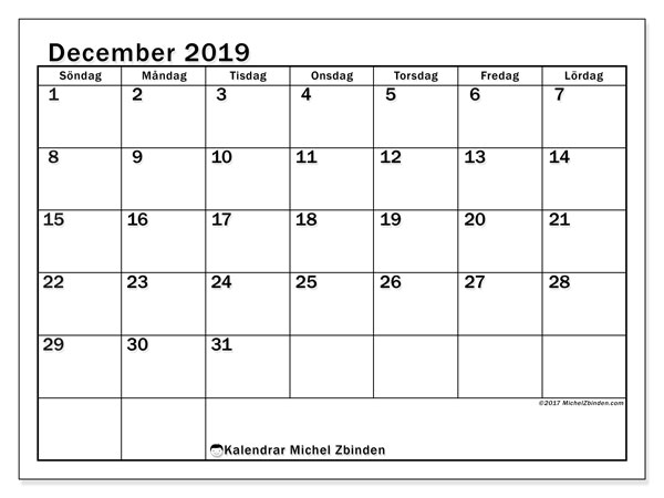 Kalender december 2019, 50SL. Kalender för året att skriva ut gratis.