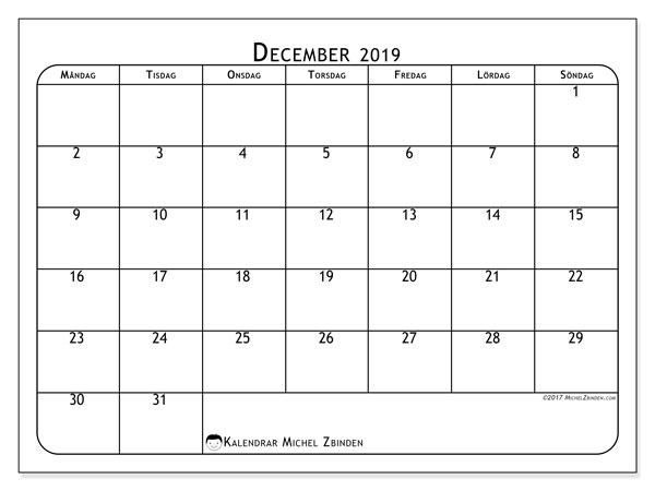 Kalender december 2019, 51MS. Kalender för året att skriva ut gratis.