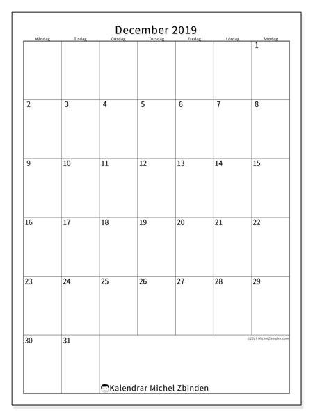 Kalender december 2019, 52MS. Schema för att skriva ut gratis.