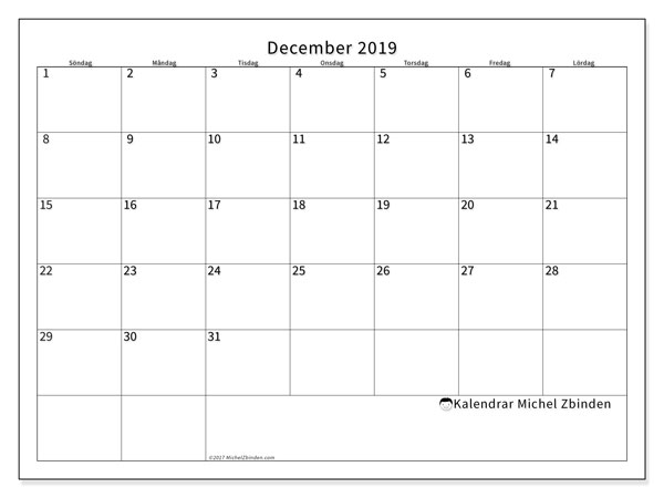 Kalender december 2019, 53SL. Kalender för att skriva ut gratis.