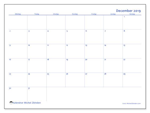 Kalender december 2019, 55MS. Schema för att skriva ut gratis.