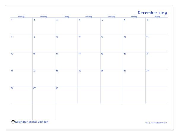 Kalender december 2019, 55SL. Kalender för att skriva ut gratis.