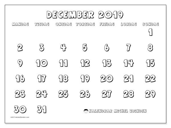 Kalender december 2019, 56MS. Almanak för att skriva ut gratis.