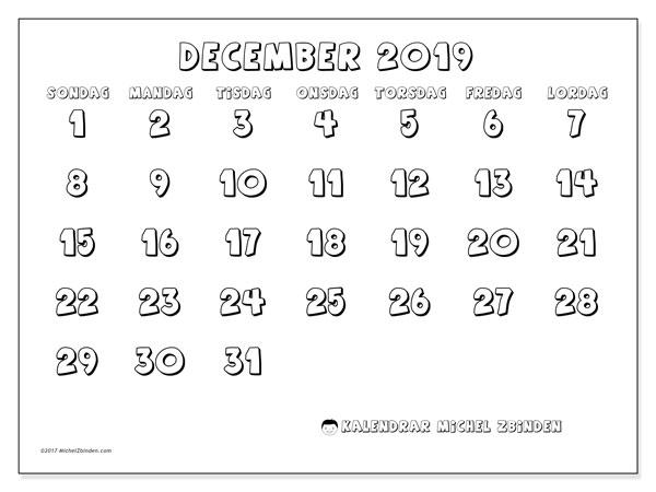 Kalender december 2019, 56SL. Månadskalender för att skriva ut gratis.
