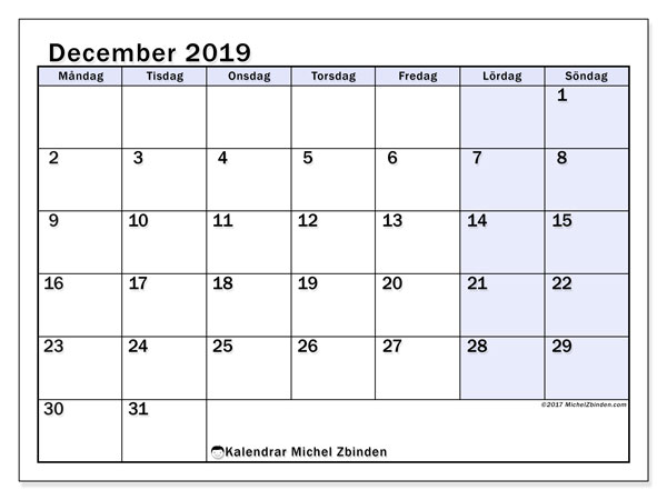 Kalender december 2019, 57MS. Kalender för gratis utskrift.
