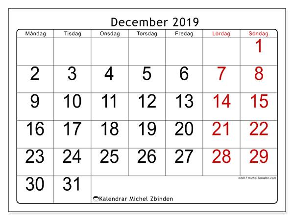 Kalender december 2019, 62MS. Almanak för att skriva ut gratis.