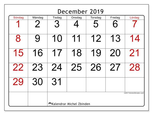 Kalender december 2019, 62SL. Gratis kalender att skriva ut.