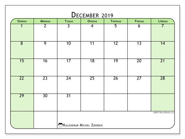 Kalender december 2019, 65SL. Månadskalender för att skriva ut gratis.