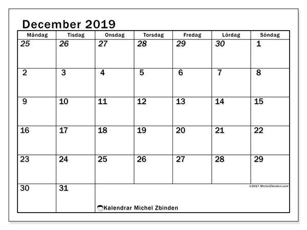 Kalender december 2019, 66MS. Kalender för gratis utskrift.