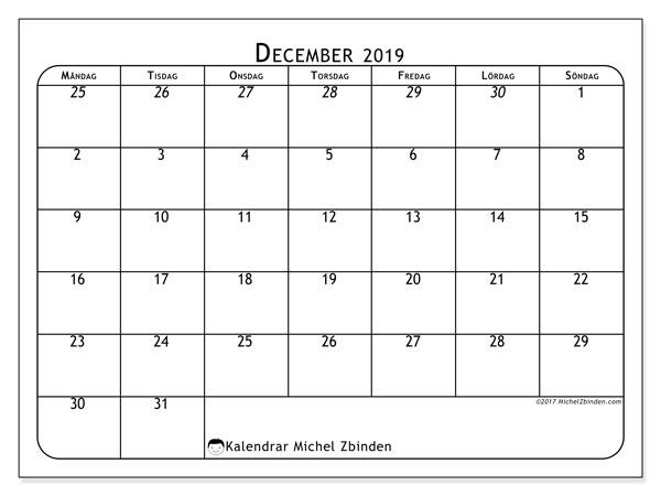 Kalender december 2019, 67MS. Kalender för gratis utskrift.