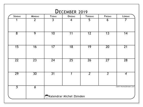 Kalender december 2019, 67SL. Almanak för att skriva ut gratis.