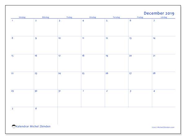 Kalender december 2019, 73SL. Månadskalender för att skriva ut gratis.