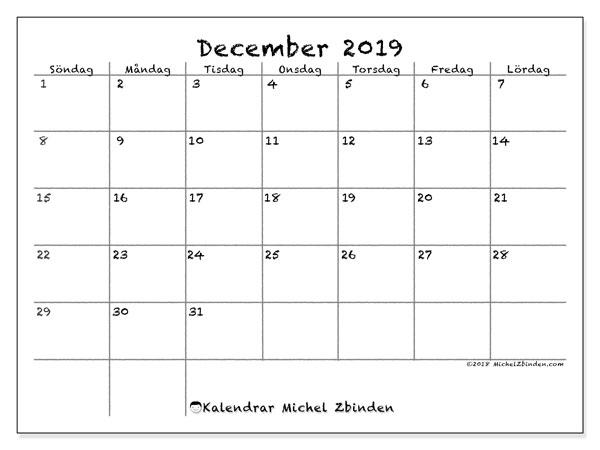 Kalender december 2019, 77SL. Almanak för att skriva ut gratis.