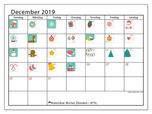 Kalender december 2019, 87SL. Adventskalender. Schema för att skriva ut gratis.