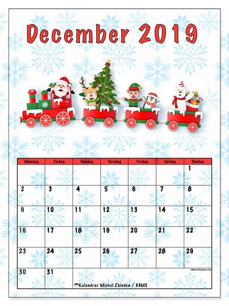 Kalender december 2019, 88MS. Jultomten tåg. Kalender för året att skriva ut gratis.