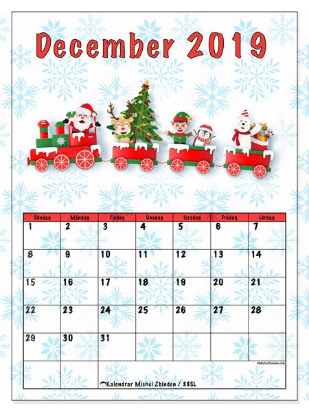 Kalender december 2019, 88SL. Jultomten tåg. Månadskalender för att skriva ut gratis.