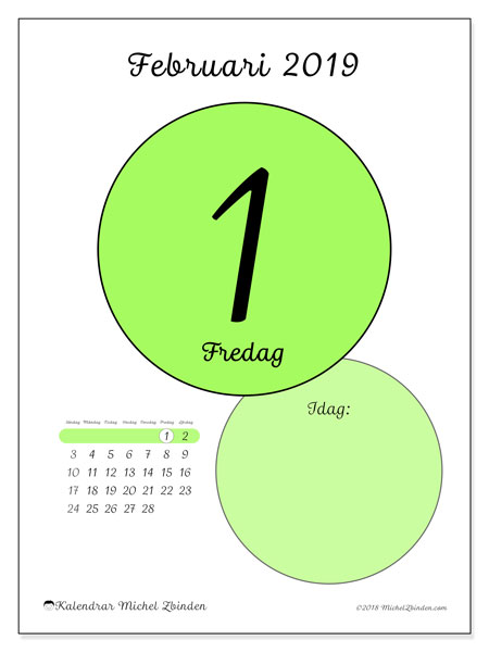 Kalender februari 2019, 45-1SL. Daglig kalender för att skriva ut gratis.